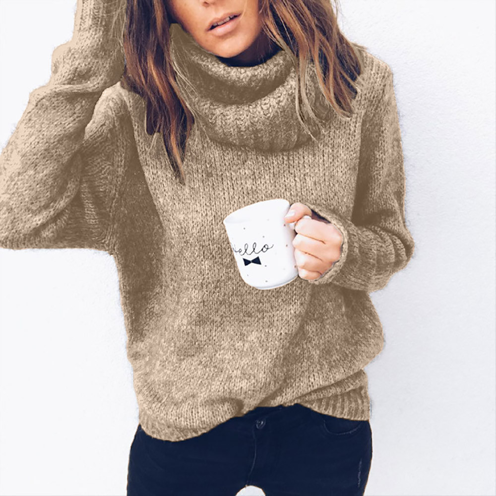 High Neck Women's Turtleneck Sweater Female Solid Long Sleeves Women's Knitted Sweater Jumper Top Attractive Blouse