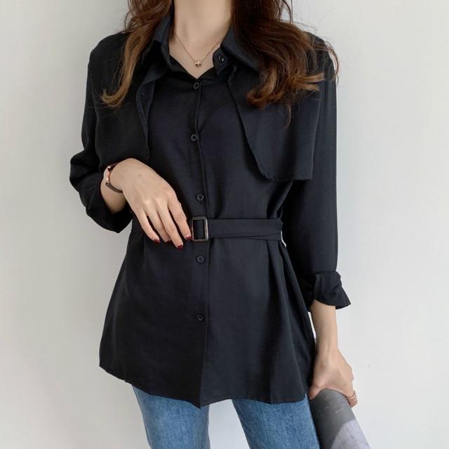 Women Loose Shirts Long Sleeve 2020 Spring Autumn Fashion Casual Chiffon Shirt Female Streetwear Vintage Blouse Tops Lace Up 1