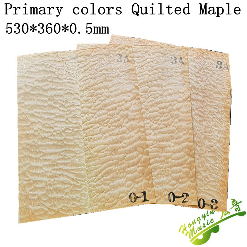 3 Pieces Primary Colors Quilted Maple  Electric Guitar Veneer Guitar Body Veneer Guitar Parts High Quality530*400*0.5mm