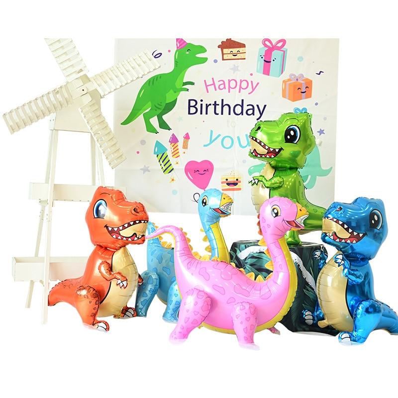 1pc Large 4D Walking Dinosaur Foil Animal Balloons For Children Jurassic Birthday Party