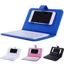 Портативная беспроводная клавиатура из искусственной кожи, чехол для мобильного телефона, защитная Bluetooth Универсальная клавиатура для Android Windows