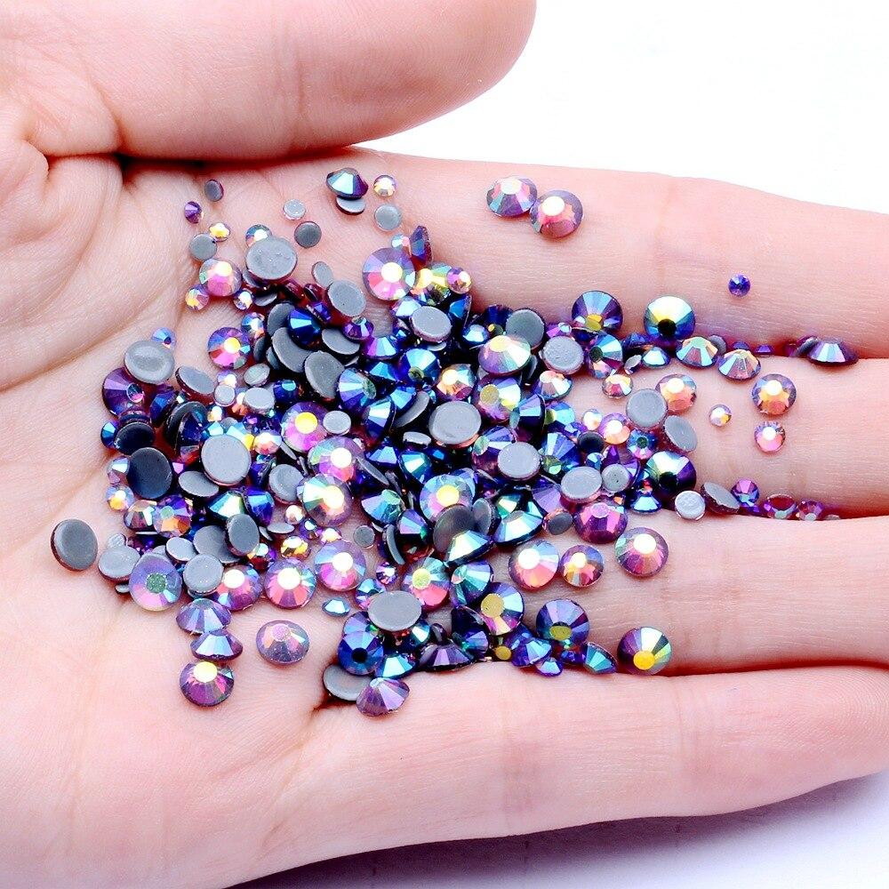 Ss6, ss10,ss16,ss20,ss30 светильник, аметист, кристаллы AB, стекло, стразы с горячей фиксацией, DMC, плоские стразы для одежды