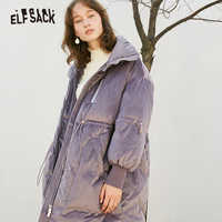 ELFSACK Solid Drawstring Pocket Zip Thick Down Jacket Women Long Oversize Coat 2019 Winter Casual Female Outwear