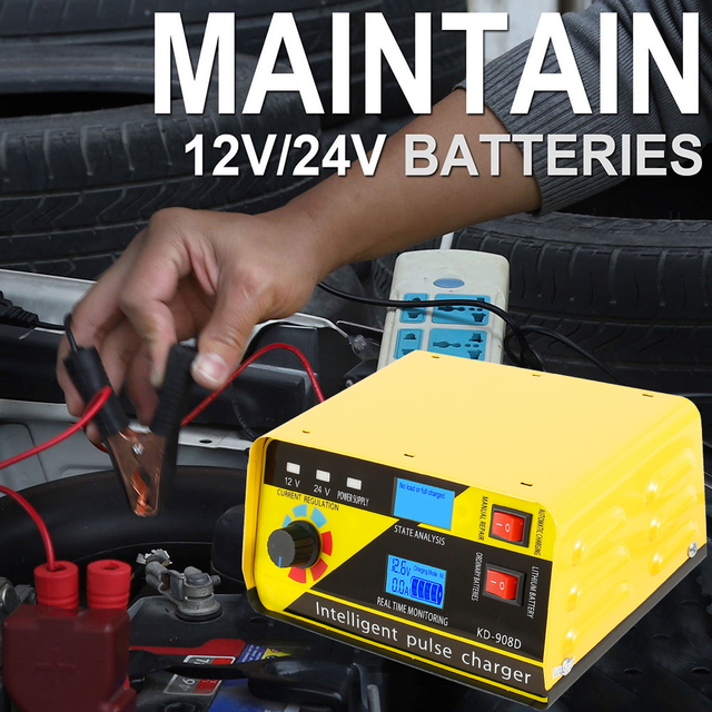 12V-24V 20A Full Automatic Battery-chargers Digital LCD Display Car Battery Chargers Power Puls Repair Chargers Dry Lead Acid