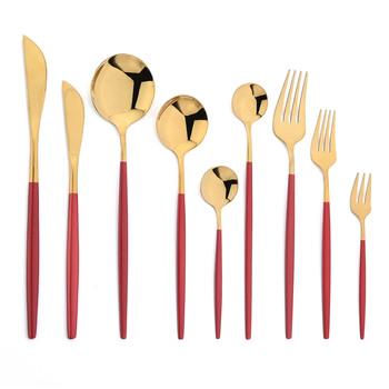 JANKNG czerwony zestaw złotych sztućców sztućce ze stali nierdzewnej zestaw noży widelec łyżka deser sztućce zastawa stołowa zestaw sztućców tanie i dobre opinie CN (pochodzenie) Zachodnia Metal STAINLESS STEEL Podszkliwna Stałe CE UE Ekologiczne Na stanie fork spoons set Odrębne produkty