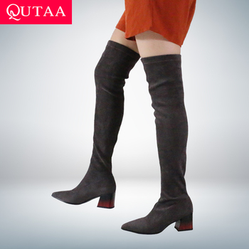 QUTAA 2021 Women Sexy Pointed Toe Over The Knee Boots Square Heel Shoes Stretch Flock Autumn Winter Long Size 34-43 - discount item  47% OFF Women's Shoes