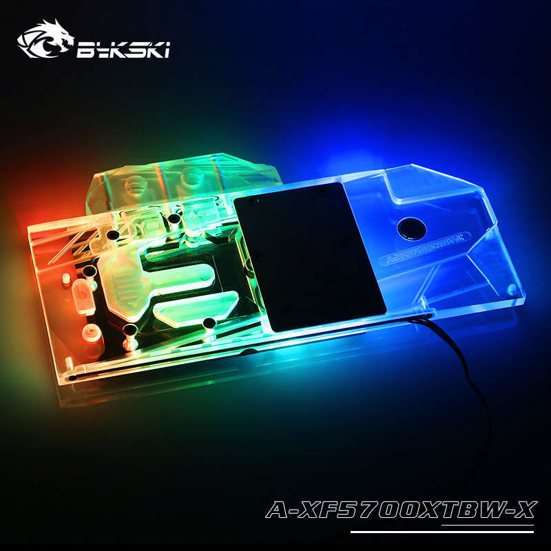 BYKSKI Water Block Use For XFX Radeon RX 5700 DD Ultra, 8GB GDDR6,HDMI,3x DP Support A-RGB/RGB Full Cover Copper Radiator Block