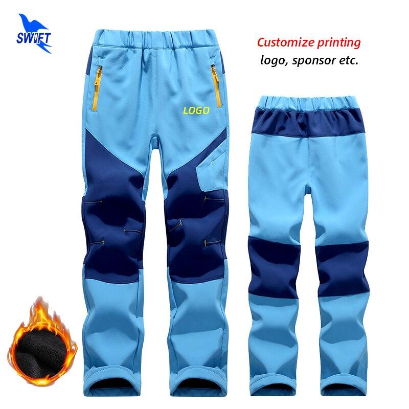 Customize LOGO Winter Warm Fleece Kids Softshell Pants Boy Girl Waterproof Outdoor Camping Hiking Skiing Windproof Trousers
