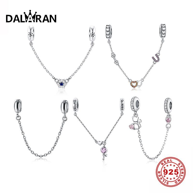 DALARAN Fit Original Pandora Charms Bracelet 925 Sterling Silver Safety Chain With Spacer Bead Charm DIY Jewelry Making Berloque
