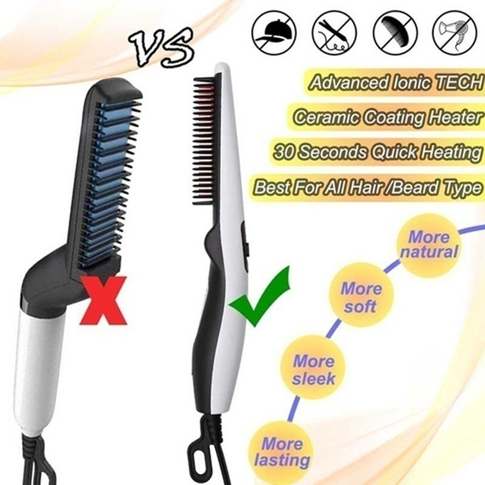 Multifunctional Hair Comb Brush Beard Straightener Hair Straighten Electric Beard Straightening Comb Quick Hair Styler For Men