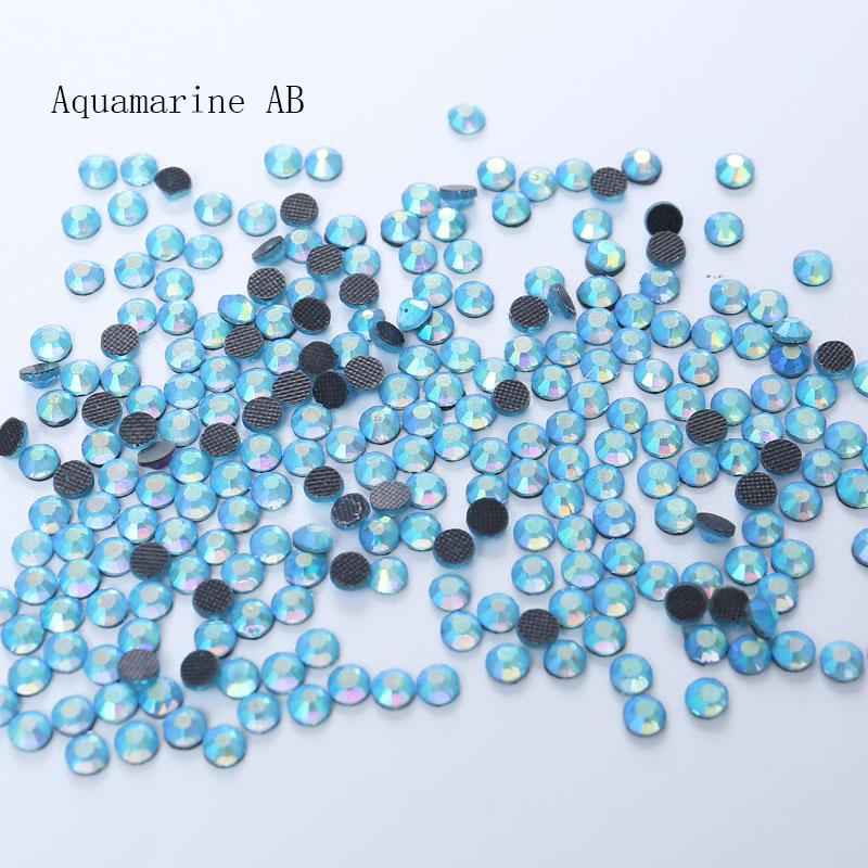 1440pcs Flat Back Nail Art Aquamarine AB crystal HotFix Rhinestones For Clothes Nail Art Decorations Accessories in Rhinestones from Home Garden