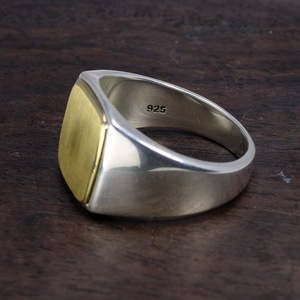 Image 3 - Genuine Solid 925 Sterling Silver Mens Signet OM Rings Simple Smooth Design Mantra Buddhist Jewelry