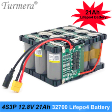 Turmera 32700 Lifepo4 Battery Pack 4S3P 12.8V 21Ah 4S 40A 100A Balanced BMS for Electric Boat and Uninterrupted Power Supply 12V