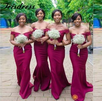 Burgundy African Bridesmaid Dresses Long 2020 Applique Lace Mermaid Maid Of Honor Dress Elegant Off Shoulder Vestidos de fiesta