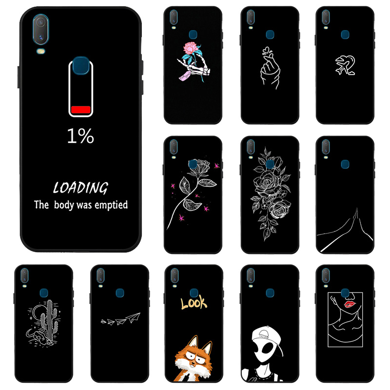 For <font><b>Vivo</b></font> Y11 2019 Z5X <font><b>Case</b></font> <font><b>3D</b></font> Black Painted Silicone Anti-fall Phone Cover For <font><b>Vivo</b></font> IQOO Neo Y91 Y81 Y81i <font><b>Y69</b></font> Y53 Y55 <font><b>Cases</b></font> Bag image