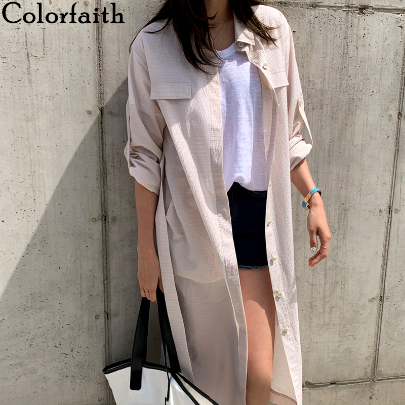 Colorfaith New 2020 Women Spring Summer Blouse Shirts Single Breasted Casual Korean Style Split Loose Lace Up Midi Tops BL6023