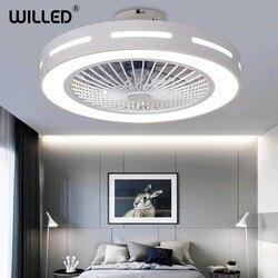 55cm sufitowy żyrandol z wentylatorem z pilotem zdalnego sterowania 220v biały nowoczesny Led Lights okrągłe światło do salonu sypialnia oświetlenie pokoju