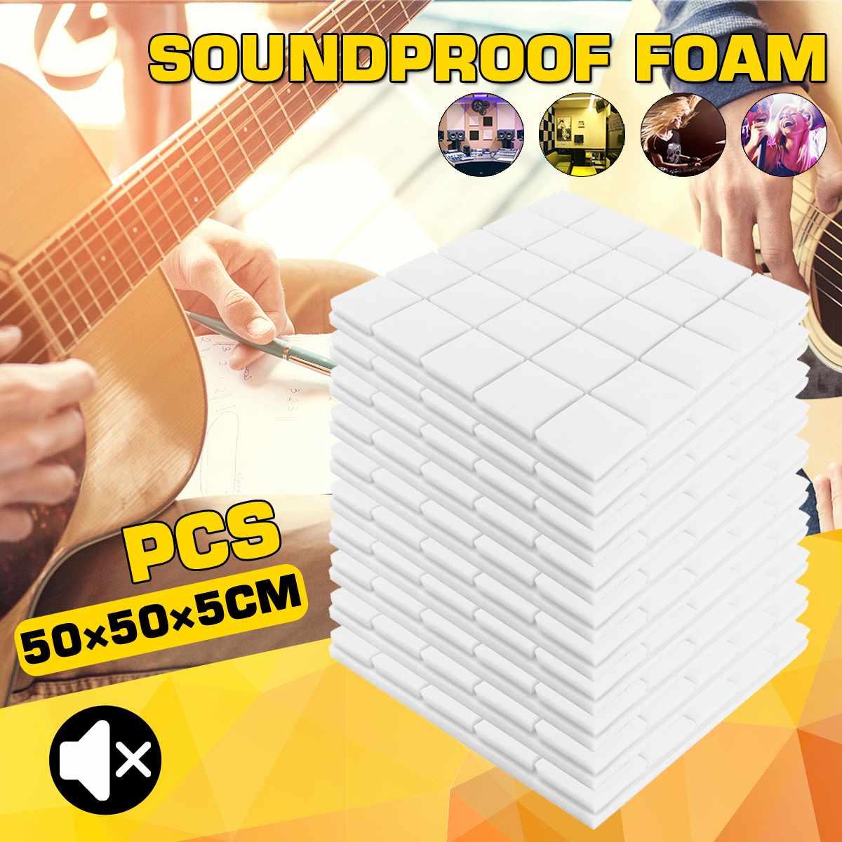 50x50x5cm 4pcs Soundproof Foam Studio Acoustic Sound Absorption Treatment Panel Tile Wedge Protective Sponge