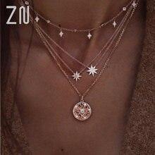 Женское многослойное ожерелье zn классическое с кулоном на цепочке