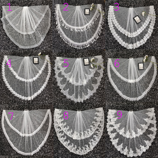 2020 New Two Layer Ivory Tulle Wedding Veil Lace Edge Cheap Short Bride Velo Elbow Length Wedding Accessories Boda Velo de Novia