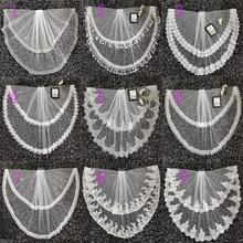 2020 חדש שני שכבה שנהב טול חתונת רעלה תחרה קצה זול קצר הכלה Velo מרפק אורך חתונה אביזרי בודהה Velo דה Novia