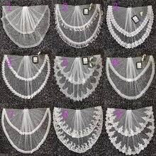 2020 جديد طبقتين عاجي تول طرحة زفاف دانتيل حافة رخيصة قصيرة العروس فيلو طول الكوع اكسسوارات الزفاف Boda Velo de Novia