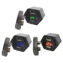 Hella DIN Spina 12V Moto 2.1A Doppio Caricatore USB con LED Voltmetro Adattatore di Alimentazione per B MW  Triumph D ucati Moto