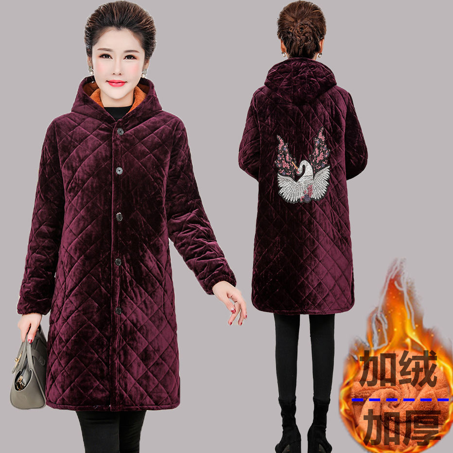 Overclothes Women's Winter Work Clothes Flannel Long Overclothes Plus Velvet Overclothes New Style Apron Hooded Protective Cloth