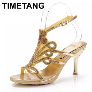 TIMETANG 2019 Summer Shoes Woman Wedding Sandals Crystal Flower Pumps Plus Size, Women's Sexy Diamond Flower Paty Sandal Pumps
