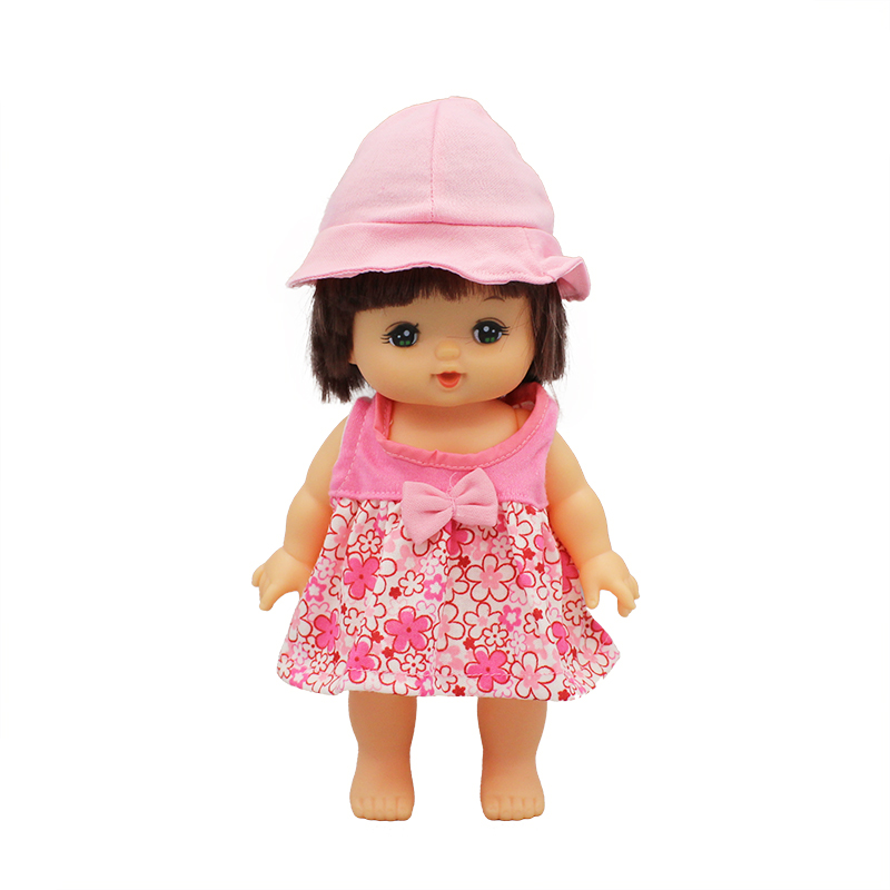 Flower Dress+Hat For 25cm Mellchan Baby Doll Clothes Doll Accessories