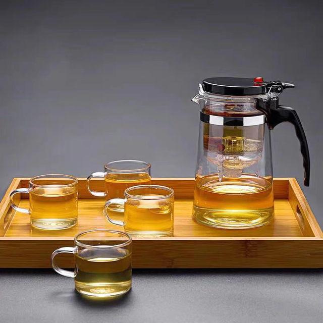 Théière en verre résistant à la chaleur, tasses de thé, 6