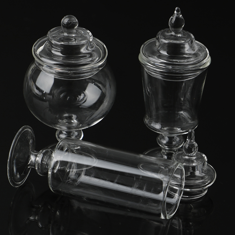 Doll House Miniature Clear Glass Candy Bottle Jar Lid Kitchen PROPS
