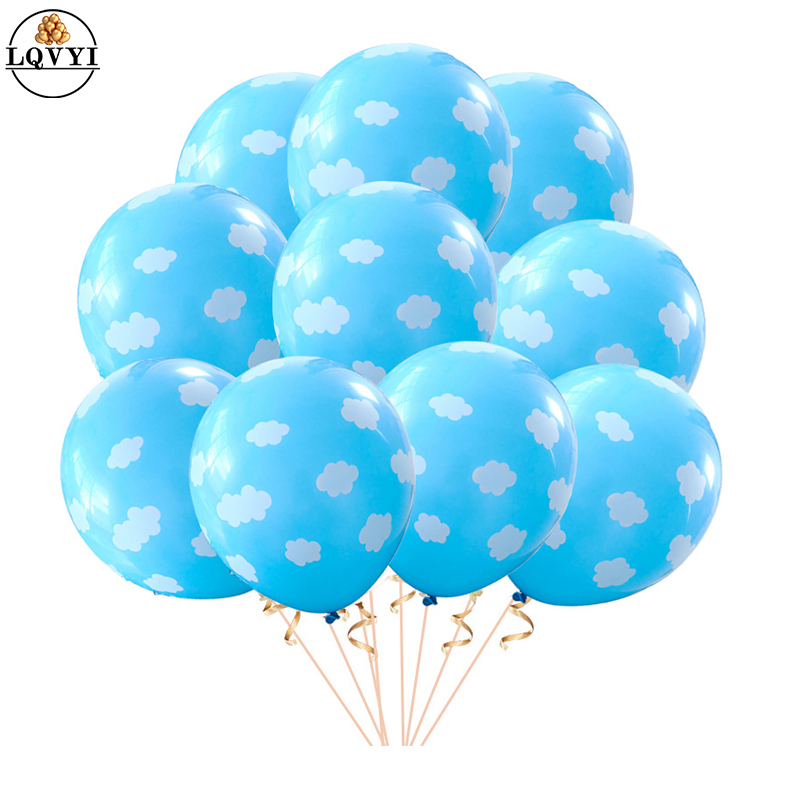 20pcs 12 Blue White Cloud Balloons Boy Airplane Toy Birthday Wedding Decor Hawaii Theme Kids Birthday Party Supplies Air Globos image