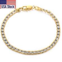Men's Bracelet 4mm 6mm Cuban Link Chain Yellow Gold Mix Silver Color Bracelet for Women Men fashion 2020 Jewelry Gift GB94A