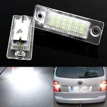 2pcs CANbus 12V 18 LEDs Car LED License Number Plate Lights Lamp For VW Transporter T5 Caddy Touran Golf Passat white 6000k