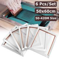 6PCS 50*60cm Silk Screen Printing Aluminum Frames Set Screen Frame Stretched With 120M/350M/380M Mesh for Printed Circuit Board