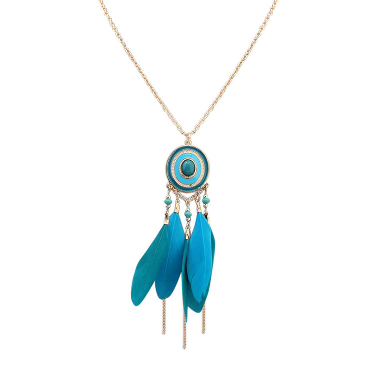 Thousands Of Colors New Style Accessories Europe And America Retro Ethnic Customs Long Necklace Creative Feather Tassels Sweater