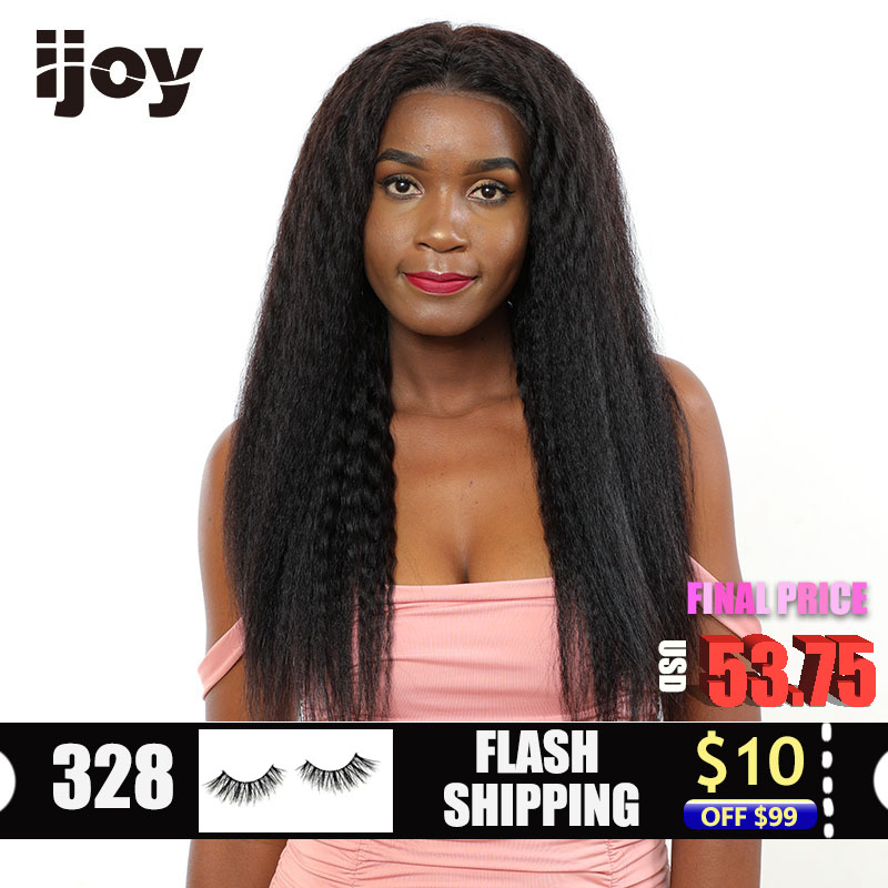 "Kinky Straight Human Hair Wigs 4x13 Lace Front Yaki Curly Wig Brazilian Hair Non-Remy Wig Natural Black 12""-22"" Real Length IJOY"