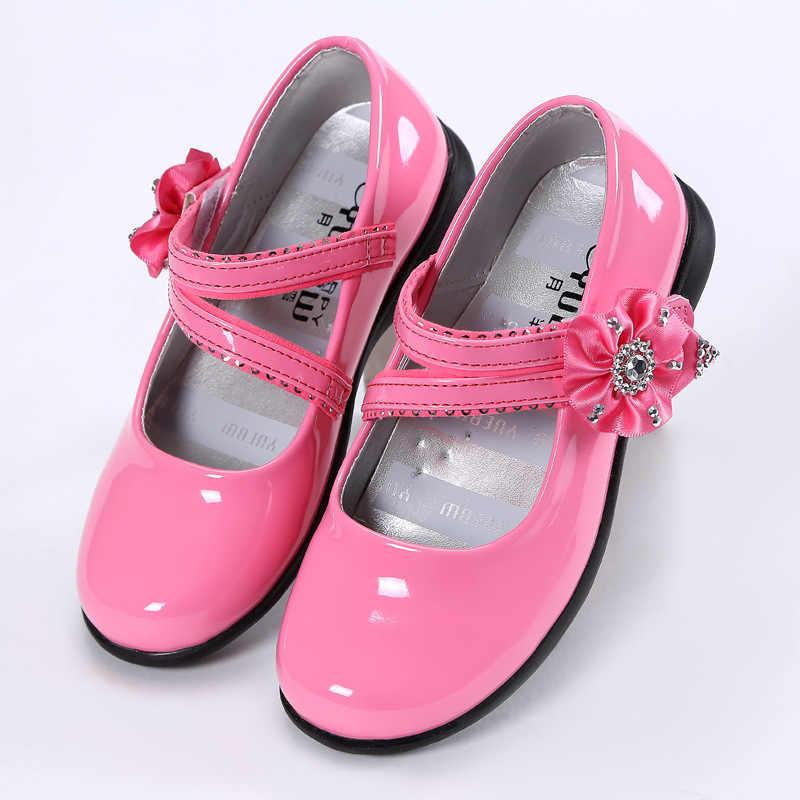 ฤดูใบไม้ร่วงดอกไม้บัลเล่ต์เต้นรำปาร์ตี้หญิงรองเท้า Glitter รองเท้าเด็ก Gold Bling รองเท้า 3-15 ปี
