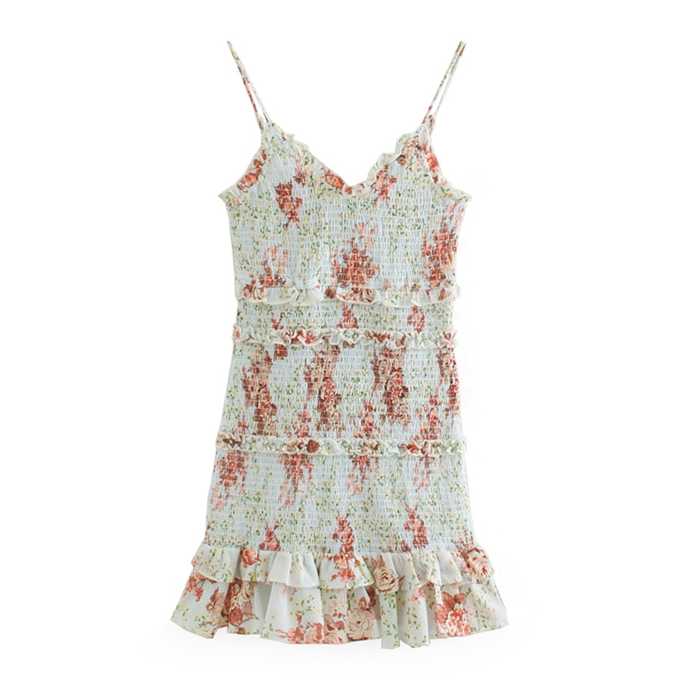 2020 summer women's new printed mini dress V-neck strap sleeveless laminated decorative hem honeycomb check dress