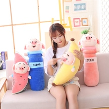 New 60-70cm Funny Simulation Watermelon/Banana Pig Plush Toy Soft Cartoon Animal Long Shape Cylinder Stuffed Doll Nap Pillow