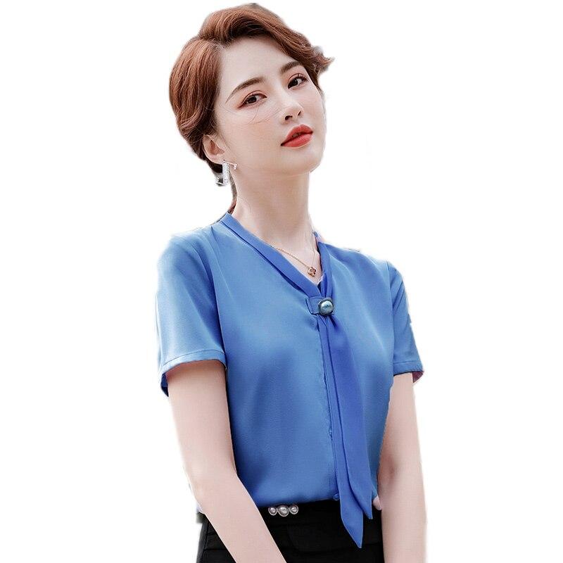 Белая шифоновая рубашка женская летняя Новинка 2021 блузка в западном стиле с короткими рукавами элегантная рубашка с лентами