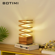 BOTIMI Wooden Table Lamp In Cuboid For Bedroom Creative Hollowing out Bedside Light with Button Switch Home Deco Reading Lights
