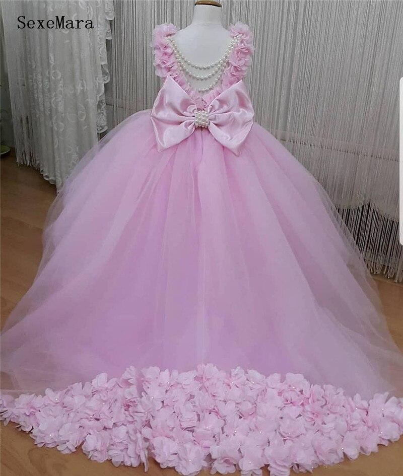 SexeMara rose 3d fleurs tulle bébé fille robe d'anniversaire avec nœud enfants vêtements avec perles 6m 9m 12m 24m