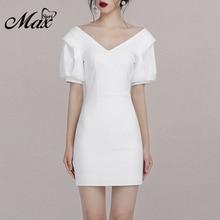 Max Spri 2019 Summer New Fashion V Neck Puff Short Sleeve Sexy Women One-Piece Outwear Backless Elegant Bodycon Party Mini Dress