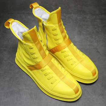 Chic Men Round Toe Lace Up High Top Ankle Boots Shoe Club Mixed Colors Sneaker Korea Dance 3Colors C757