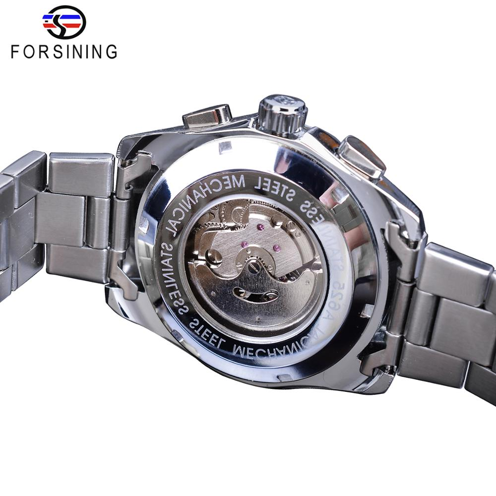 Forsining Mens Mechanical Watches Black 6 Hands Date Automatic Self Winding Silver Stainless Steel Band Wristwatch Clock Relogio in Mechanical Watches from Watches