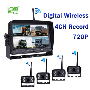 Wireless Rv Truck Trailer Bus Forklift 4 Channel Video Record 7 Inch Monitor Infrared Reverse Backup Quad View Camera System