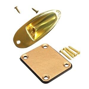 1 комплект Золотая Шея пластина с 4 винтами для Fender электрогитара Strat и 1 шт. лодка разъем вход/выход пластины розетки