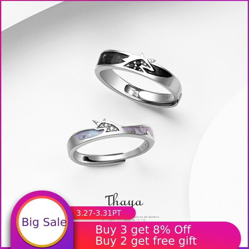 Thaya 100% S925 Sterling Silver Crystal Unicorn Rings Drip Oil Original Design For Women Elegant Rings Fine Jewelry Gift Drop
